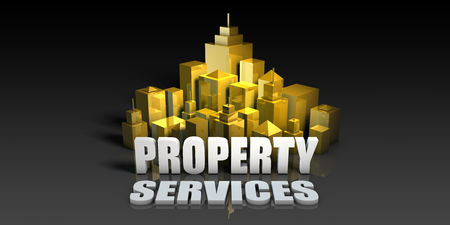 Property Services Industry Business Concept with Buildings Background Stock Photo