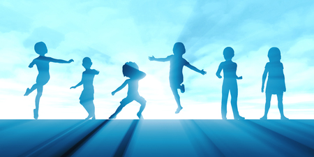 Children Playing Outside with Silhouette of Kids Concept