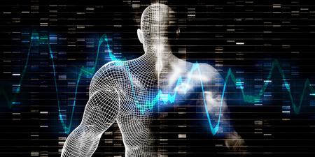 Recherche scientifique avec l & # 39 ; adn génétique concept de séquence Banque d'images - 83891934