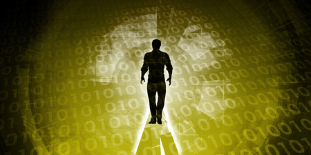relying: Empowered by Technology with Man Standing in Digital Portal