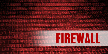 Firewall Security Warning on Red Binary Technology Background