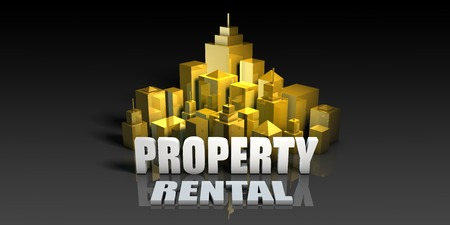 Property Rental Industry Business Concept with Buildings Background Stock Photo