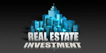 Real Estate Investment Concept in Blue on Black Background