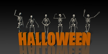 Halloween Postcard with Skeleton Group Crowd Moving as Concept