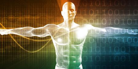Internet Achtergrond Met Binaire Code En Vitruvian Man