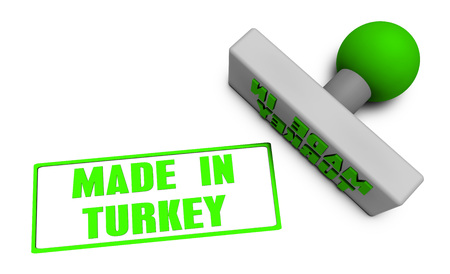 Made in Turkey Stamp or Chop on Paper Concept in 3d