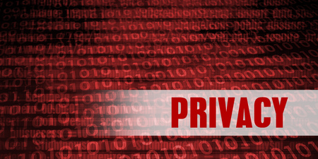 Privacy Security Warning on Red Binary Technology Background