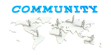 Community Global Business Abstract with People Standing on Map Lizenzfreie Bilder