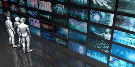 사람들이 화면에서 쳐다 보는 멀티미디어 기술
