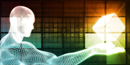 Abstract Technology Background with Man Holding Solution