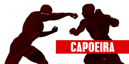 Capoeira Class with Silhouette of Two Men Fighting