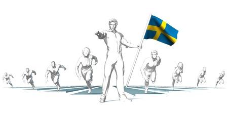 Sweden Racing to the Future with Man Holding Flag Lizenzfreie Bilder