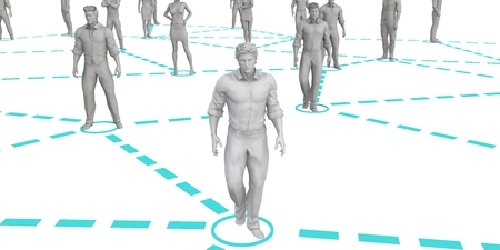 Crowd of 3D Figures Linked by Lines and Technology Lizenzfreie Bilder