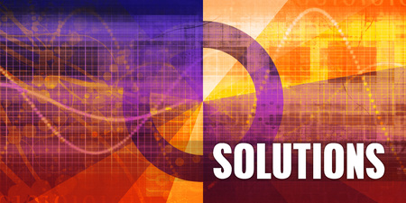 Solutions Focus Concept on a Futuristic Abstract Background Фото со стока