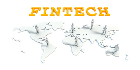 Fintech Concept with a Global Business Team
