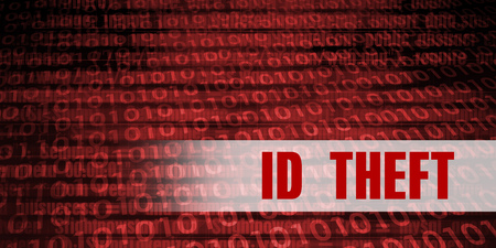 Id theft Security Warning on Red Binary Technology Background Stock Photo