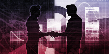 Technology Collaboration with Two Businessmen and Handshake