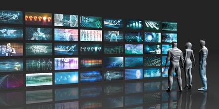 Futuristische videomuur met virtuele hologramprojectie Stockfoto
