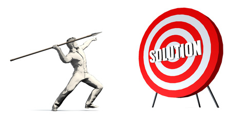 Aiming For Solution with Bullseye Target on White Stock Photo
