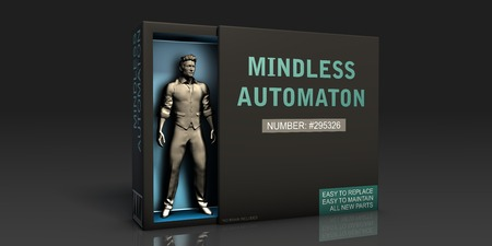 Mindless Automaton Employment Problem and Workplace Issues Stok Fotoğraf