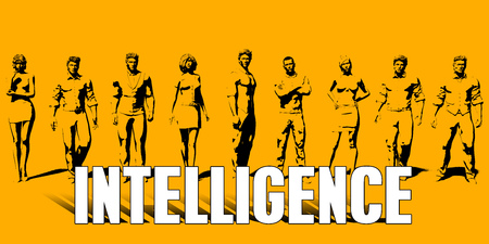 Intelligence Concept With Business Professionals Standing in a Row