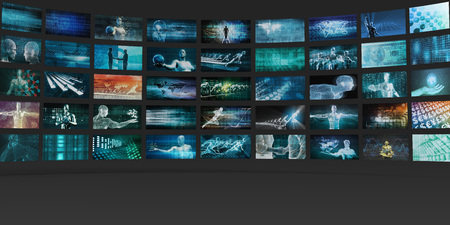 Video Wall Abstract with Business Technology Screens Concept Stock Photo