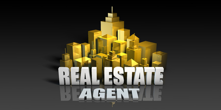Real Estate Agent Industry Business Concept with Buildings Background
