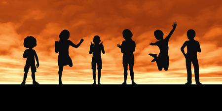 夕日にシルエットを遊んでいる子供たち 写真素材