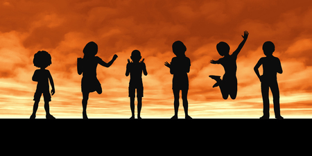 docks: Children Playing Silhouette Against the Setting Sun Stock Photo