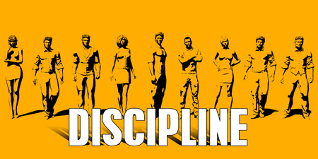 Discipline Concept With Business Professionals Standing in a Row