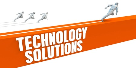 Technology Solutions Express Lane with Business People Running