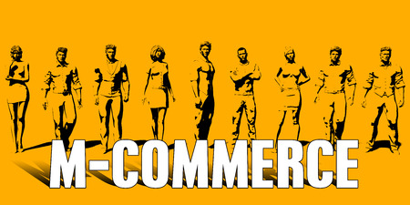 M-Commerce Concept With Business Professionals Standing in a Row