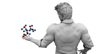 Scientist Holding a Molecule as a Science Concept