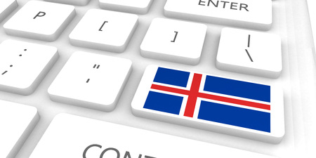 Iceland Racing to the Future with Man Holding Flag