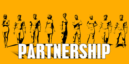 Partnership Concept With Business Professionals Standing in a Row