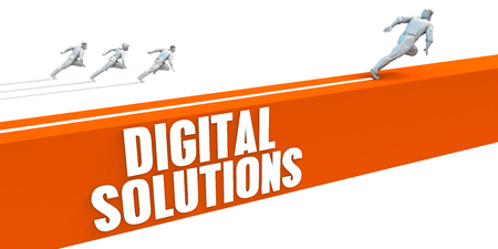 Digital Solutions Express Lane with Business People Running