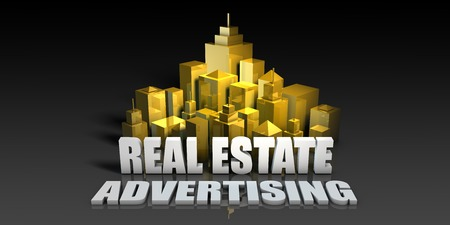Real Estate Advertising Industry Business Concept with Buildings Background