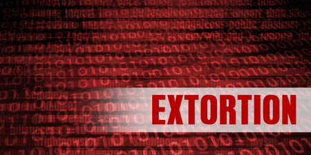 Extortion Security Warning on Red Binary Technology Background Lizenzfreie Bilder