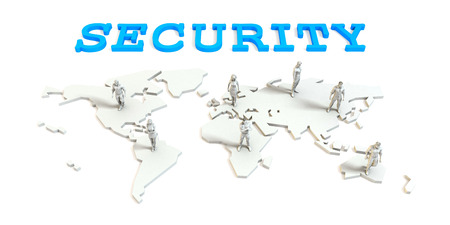 Security Global Business Abstract with People Standing on Map