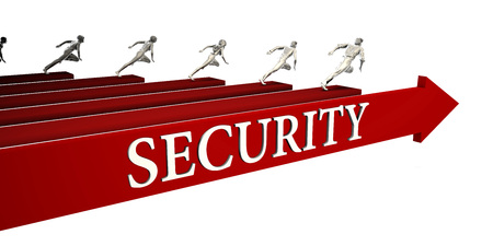 Security Solutions with Business People Running To Success Stok Fotoğraf