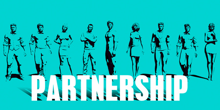 Partnership Focus with Business People United Art