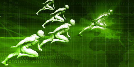Business Coaching Concept with Men Running in Unison