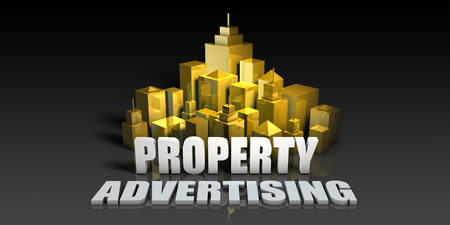 Property Advertising Industry Business Concept with Buildings Background