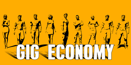 Gig Economy Concept With Business Professionals Standing in a Row