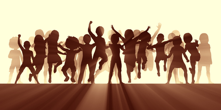 Children Jumping for Joy and Excitement Background