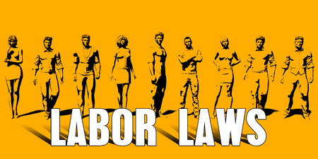 Labor Laws Concept With Business Professionals Standing in a Row