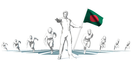 Bangladesh Racing to the Future with Man Holding Flag Stock Photo