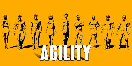 Agility Concept With Business Professionals Standing in a Row
