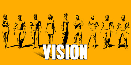 Vision Concept With Business Professionals Standing in a Row Stock Photo