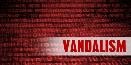 Vandalism Security Warning on Red Binary Technology Background Stock Photo